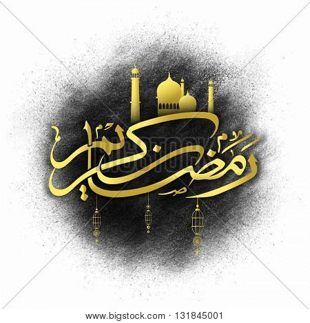 Glossy Golden Arabic Islamic Calligraphy of text Ramadan Kareem with Mosque on abstract background for Holy Month of Muslim Community Festival celebration.