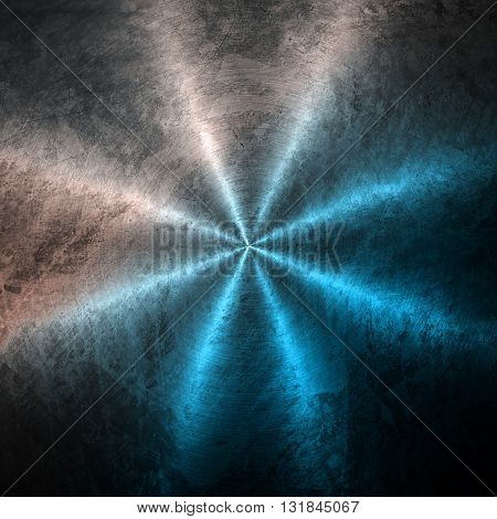 stained metal background with rays pattern