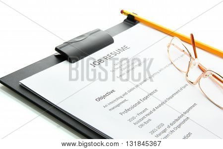 resume with pencil and glasses on clipboard isolated on white