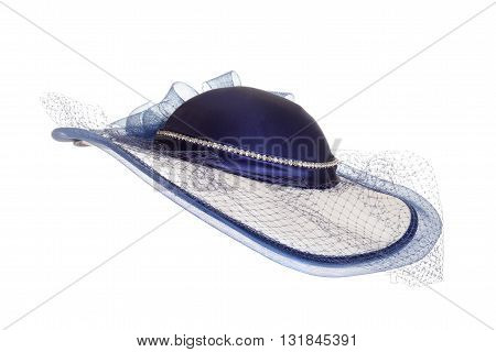 isolated ladies blue hat with veil on white