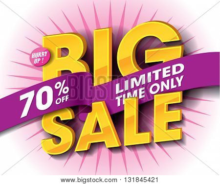 Big Sale concept with label banner. sale layout design. Vector illustration