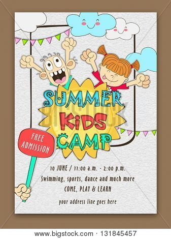 Summer Kids Camp Template, Banner, Flyer or Invitation Card design with doodle style illustration of happy kids and date, time or activities details.
