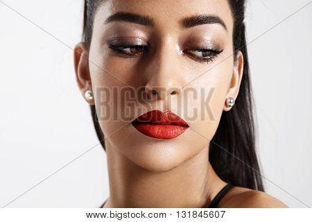 Woman Wears Evening Bright Makeup And Watching Aside