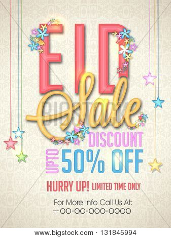 Eid Sale with 50% Discount Offer for Limited Time, Elegant Pamphlet, Banner or Flyer design with colourful stars and flowers decoration.