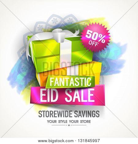Fantastic Eid Sale Flyer Discount upto 50% Off, Elegant Vector Illustration