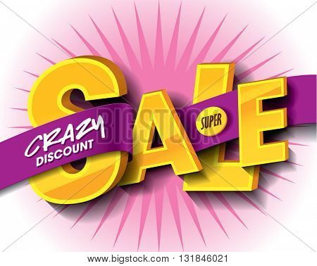 Super Sale concept with label banner. sale layout design. Vector illustration