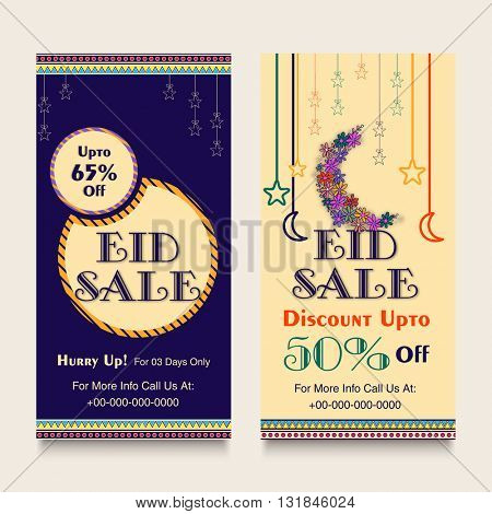 Eid Sale with 65% Discount Offer, Creative Website Banner set with different islamic elements for Muslim Community Festival celebration.