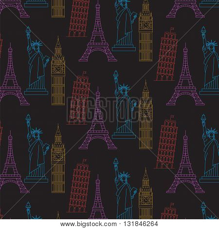 World Famous Landmarks Vector Seamless  Black Background.
