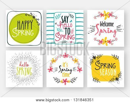 Creative Spring Card set, Hand drawn illustration with different typographic collection. Design for poster, greeting card, invitation, placard, brochure, flyer etc.