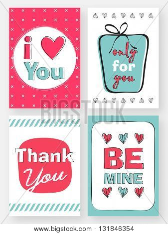 Set of four typographic love greeting card or invitation card design with doodle elements. Wedding, Anniversary, Birthday, Valentine's day, Thank You Card, Creative hand drawn vector illustration.