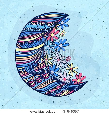 Beautiful floral design decorated, Crescent Moon with colourful flowers on sky blue background for Islamic Festivals celebration.