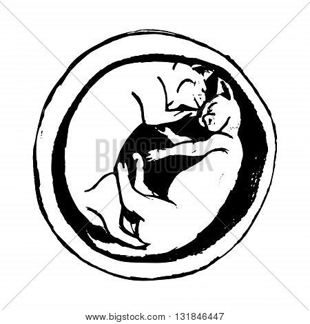 A graphical illustration of two kittens sleeping in a flower pot. Abstract image of lying cat. Vector illustration on a white background.