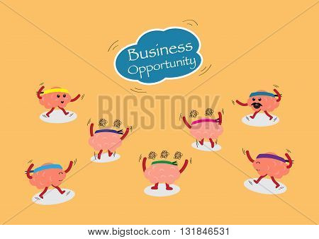 brain cartoon character vector illustration chasing business opportunity from sky (conceptual image about each person chasing to win the business opportunity)