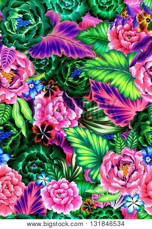 colrful and vibrant seamlss artistic floral pattern with mexican style. folk roses and leaves, ethnic colors and intense layout.