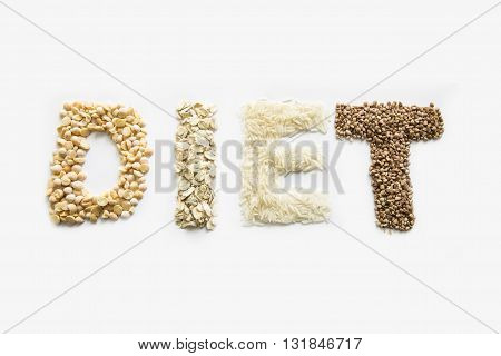 Diet grains text. Isolated on a white background.
