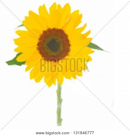 Low poly illustration of one bright sunflower