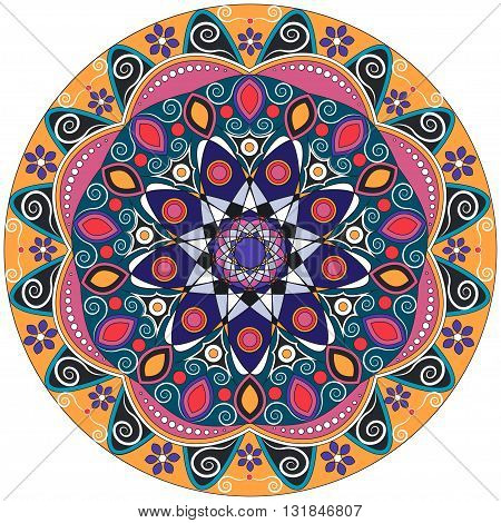 Mandala decoration isolated design element. Hand drawn style decor for coloring book. Tribal ethnic floral mandala round pattern doodle art for coloring page. Hand drawn geometric mandala background