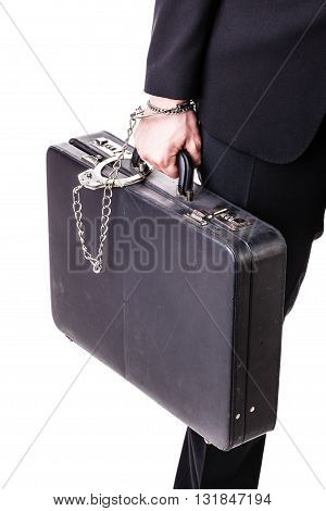 Suitcase Chained To A Businessman