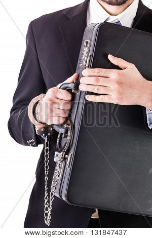 Businessman Protecting His Suitcase