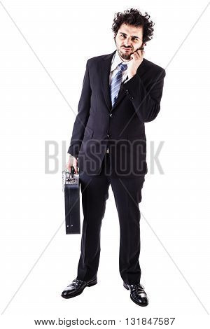 Businessman With Black Suitcase Chained