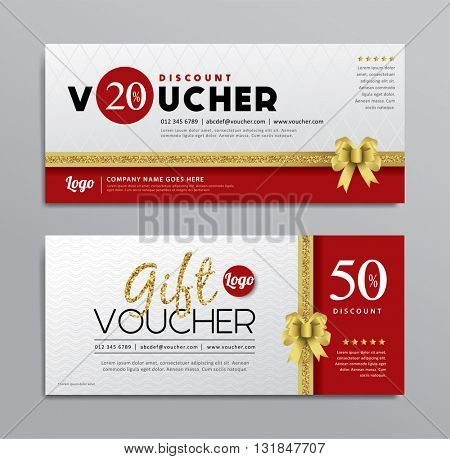 Gift voucher templates with gold ribbon