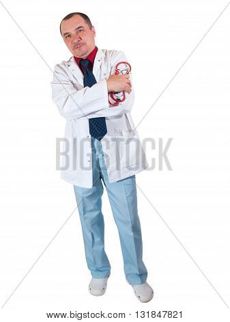 Full length young medical doctor on white background