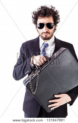Cool Businessman With Chained Suitcase