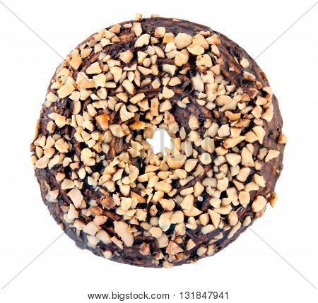 Chocolate cookie with nuts isolated on a white background
