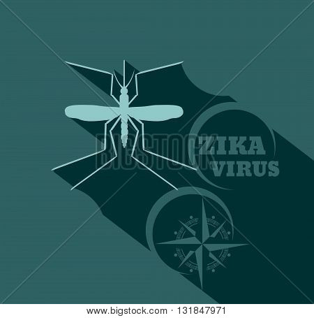 Virus diseases transmitter. Mosquito silhouette. Zika virus text and ancient compass arrows. Flat style vector illustration