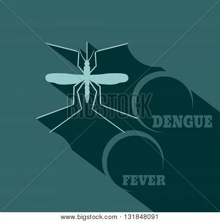 Virus diseases transmitter. Mosquito silhouette. Dengue fever text. Flat style vector illustration