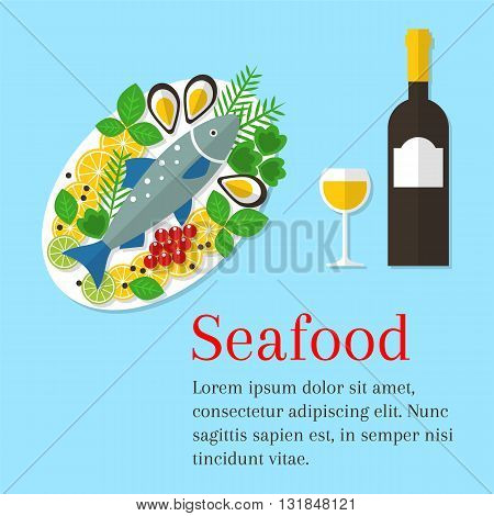 Seafood platter vector flat illustration. Cooked salmon fish on a plate with lemon and wine bottle. Fresh seafood background. Seafood restaurant menu. Seafood dinner.