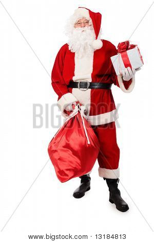 Tema de Natal: Papai Noel com presentes. Isolado sobre o fundo branco.