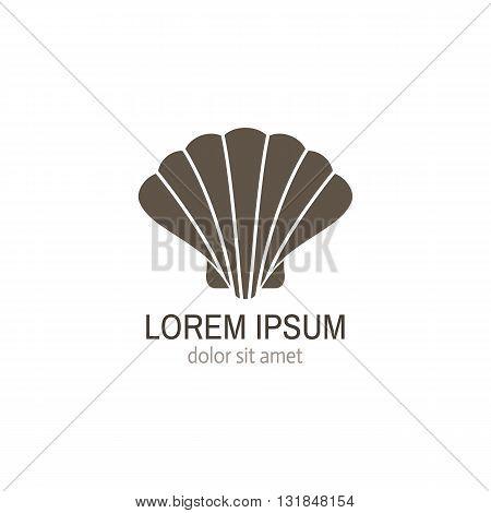 Sea shell logo template. Sea shell vector flat icon isolated. Seafood restaurant logo.