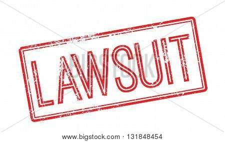 Lawsuit Red Rubber Stamp On White