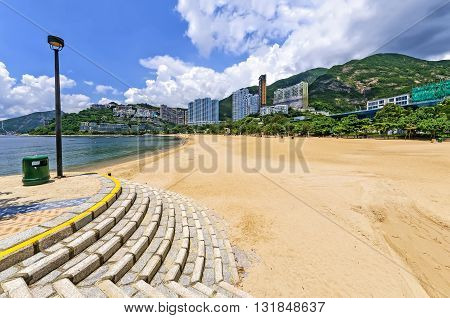 View of Repulse Bay beach in south Hong Kong island, China. The Repulse Bay area is one of the most expensive housing areas in Hong Kong.