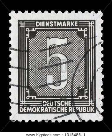 ZAGREB, CROATIA - SEPTEMBER 05: A stamp printed in GDR shows numeric value, circa 1956, on September 05, 2014, Zagreb, Croatia