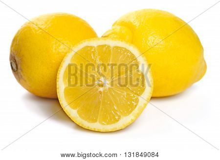 Fresh organic lemons, isolated on white background.