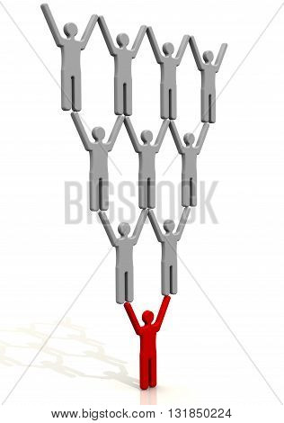 The worker and his heads. Concept. Red symbol of man represents the working class on the shoulders which holds a lot of leaders. 3D Illustration. Isolated