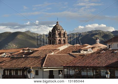 Church Steeple and Red Roofs
