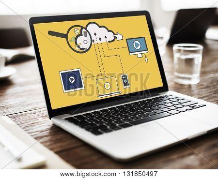 Cloud Storage Connection Devices Technology Concept