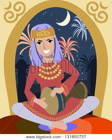 girl playing darbuka at ramadan - colorful vector illustration