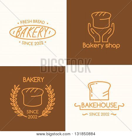 Set of vector illustrations with wheat text and baked goods for the bakery and shop in a linear fashion. Perfect for menu poster advertising website design template logo.