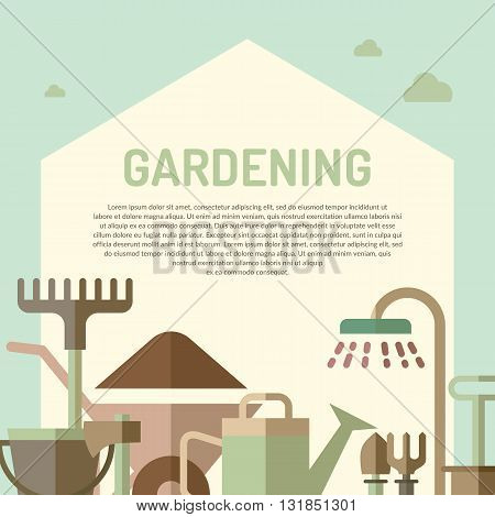 Poster with tools for the garden in flat style. Signs and symbols of gardening. Garden tools in the background.