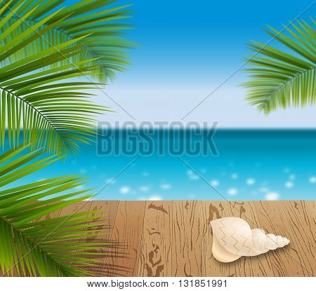 Sunny summer day in a tropical Paradise green palm leaves on the wooden pattern flooring shell. Blue ocean seascape with sun shine.
