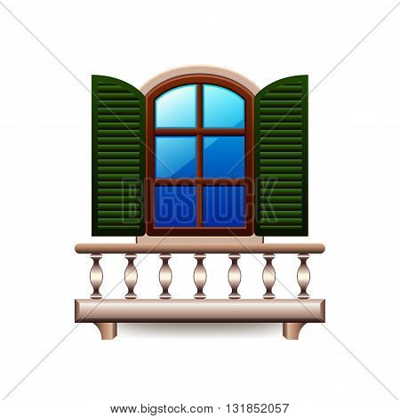 Window with balcony isolated on white photo-realistic vector illustration