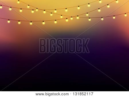 Background with garlands at the upper side strings with glowing lights