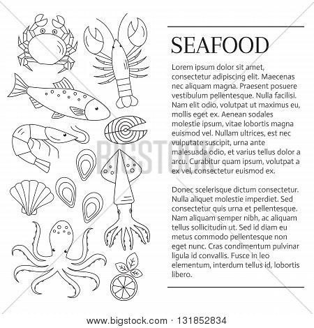 Seafood background. Seafood banner. Vector flat line illustrations of lobster, crab, salmon, fish, squid, oyster, shrimp, octopus, eel. Seafood restaurant menu.