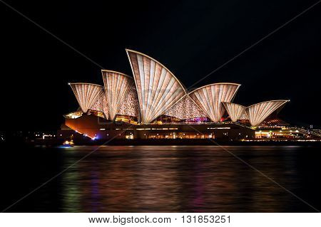 SYDNEY AUSTRALIA - MAY 29 2016; Sydney Opera House in moving colour of patterns shapes and lines during the Vivid Sydney Annual Event
