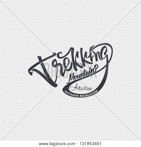 Trekking sign handmade differences, made using calligraphy and lettering using geometric elements ways and assembled in the badge using typographic rules