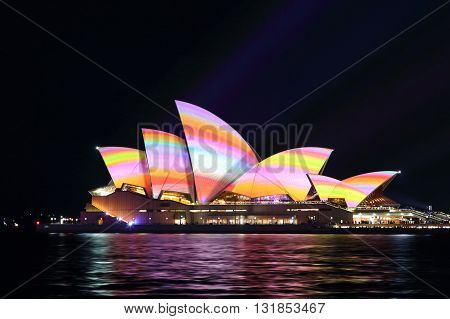 SYDNEY AUSTRALIA - MAY 29 2016; Sydney Opera House in a rainbow of colour during the Vivid Sydney Annual Event
